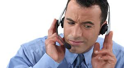 man talking on  headphone