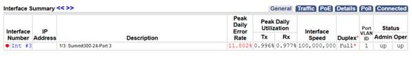 interface summary, peak daily error rate, full duplex