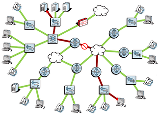 network diagram with security alert