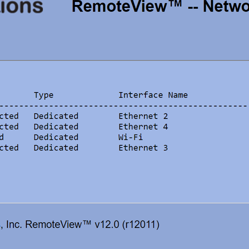 RemoteView Network Adapters List