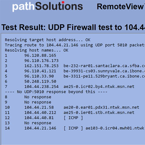 RemoteView UDP Firewall Test