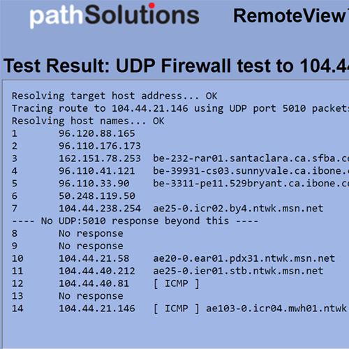 RemoteView UDP Firewall Test